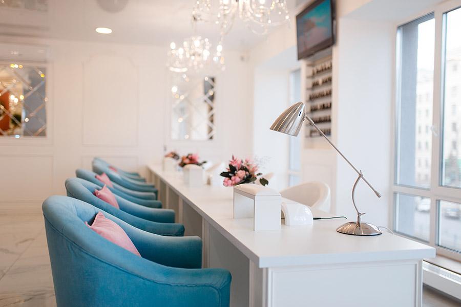 Nail Salon Insurance - Interior of an Upscale, Modern Nail Salon in the City